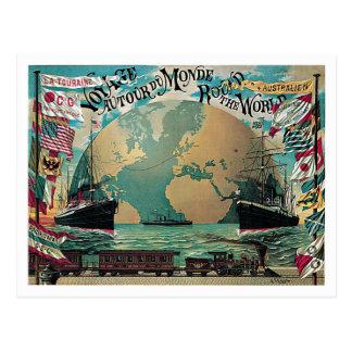 Round The World Voyage Vintage Poster Art Postcard