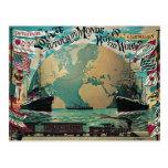 Round The World Voyage Vintage Poster Art Postcards