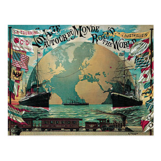 Round The World Voyage Vintage Poster Art Postcard