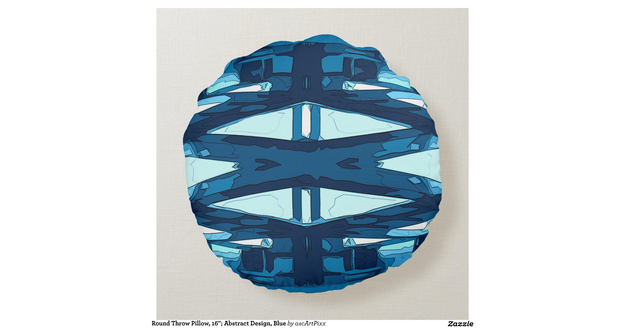 Round Blue Decorative Pillows : Round Throw Pillow, 16