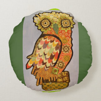 Round Throw Pillow (16 inch) with Hoot Owl Design Round Pillow