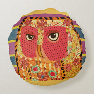 Round Throw Pillow (16 inch) with Wise Owl Design Round Pillow