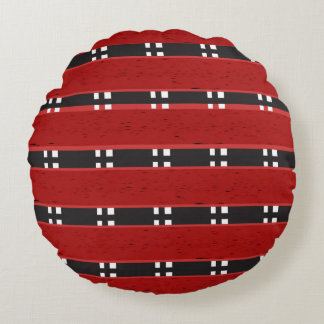 """Round Throw Pillow (16"""") RED/BLACK BARS"""