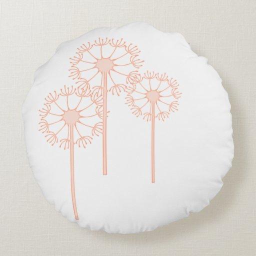 Round Throw Pillow, Coral Dandelion Round Pillow Zazzle