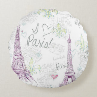 Round Throw Pillow/I Love Paris with Eiffel Tower Round Pillow