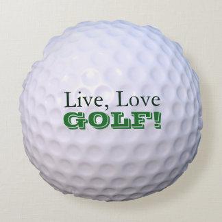 Round Throw Pillow | Live, Love, GOLF! | Golfball Round Pillow