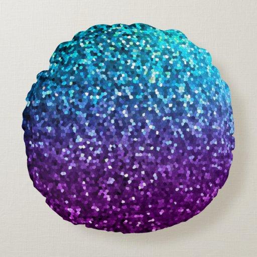 Round Throw Pillow Mosaic Sparkley Texture Zazzle