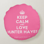 [Crown] keep calm and love hunter hayes  Round Throw Pillow Round Pillow