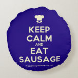 [Chef hat] keep calm and eat sausage  Round Throw Pillow Round Pillow