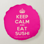[Crown] keep calm and eat sushi  Round Throw Pillow Round Pillow