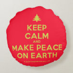 [Xmas tree] keep calm and make peace on earth  Round Throw Pillow Round Pillow