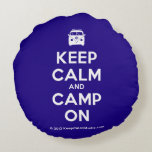 [Campervan] keep calm and camp on  Round Throw Pillow Round Pillow