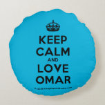 [Crown] keep calm and love omar  Round Throw Pillow Round Pillow