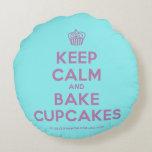 [Cupcake] keep calm and bake cupcakes  Round Throw Pillow Round Pillow