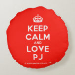[Crown] keep calm and love pj  Round Throw Pillow Round Pillow