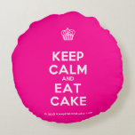 [Cupcake] keep calm and eat cake  Round Throw Pillow Round Pillow