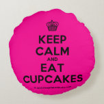 [Cupcake] keep calm and eat cupcakes  Round Throw Pillow Round Pillow