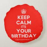 [Cupcake] keep calm its your birthday  Round Throw Pillow Round Pillow