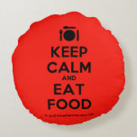 [Cutlery and plate] keep calm and eat food  Round Throw Pillow Round Pillow