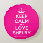 [Knitting crown] keep calm and love shelby  Round Throw Pillow Round Pillow