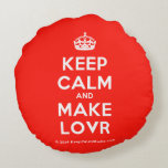 [Crown] keep calm and make lovr  Round Throw Pillow Round Pillow