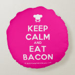 [Chef hat] keep calm and eat bacon  Round Throw Pillow Round Pillow