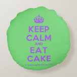 [Crown] keep calm and eat cake  Round Throw Pillow Round Pillow