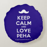 [Moustache] keep calm and love peha  Round Throw Pillow Round Pillow