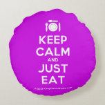 [Cutlery and plate] keep calm and just eat  Round Throw Pillow Round Pillow