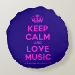 [Dancing crown] keep calm and love music  Round Throw Pillow Round Pillow