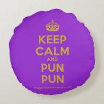 [Crown] keep calm and pun pun  Round Throw Pillow Round Pillow