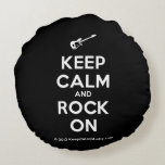 [Electric guitar] keep calm and rock on  Round Throw Pillow Round Pillow