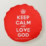 [Cupcake] keep calm and love god  Round Throw Pillow Round Pillow