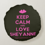 [Two hearts] keep calm and love sheyanne  Round Throw Pillow Round Pillow