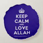 [Crown] keep calm and love allah  Round Throw Pillow Round Pillow