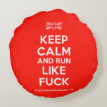 [UK Flag] keep calm and run like fuck  Round Throw Pillow Round Pillow