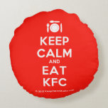 [Cutlery and plate] keep calm and eat kfc  Round Throw Pillow Round Pillow