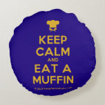 [Chef hat] keep calm and eat a muffin  Round Throw Pillow Round Pillow