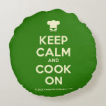 [Chef hat] keep calm and cook on  Round Throw Pillow Round Pillow