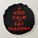 [Campfire] keep calm and eat shaorma  Round Throw Pillow Round Pillow