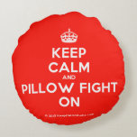 [Crown] keep calm and pillow fight on  Round Throw Pillow Round Pillow