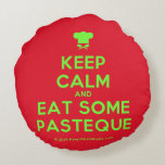 [Chef hat] keep calm and eat some pasteque  Round Throw Pillow Round Pillow