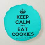 [Crown] keep calm and eat cookies  Round Throw Pillow Round Pillow