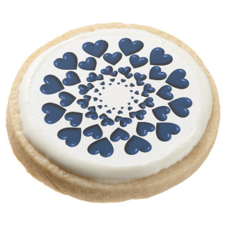 Round Trailing Hearts-Blue-SHORTBREAD COOKIES
