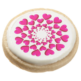 Round Trailing Hearts-Pink-SHORTBREAD COOKIES
