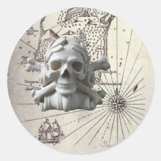 Round Treasure Island Map with Skull Stickers