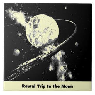 Round Trip To The Moon Ceramic Tile