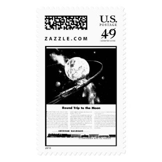 Round Trip To The Moon Postage Stamps
