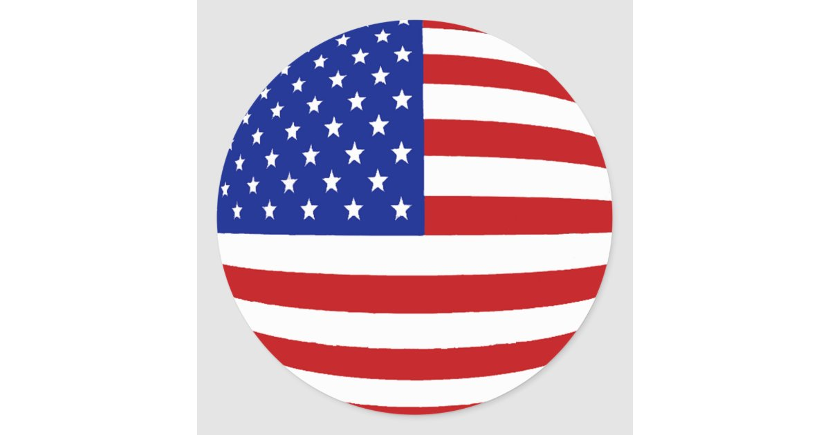 Round Us Flag Classic Round Sticker Zazzle Com