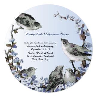 Round Vintage Birds Blue Wedding Invitation